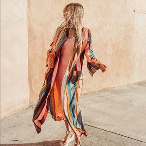 Lulus Satin Striped Kimono